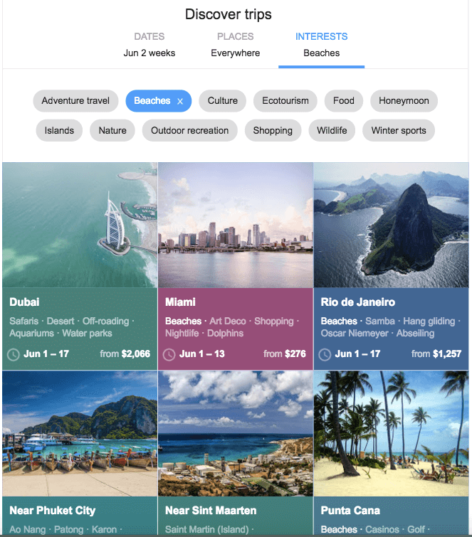 Google Flights - Discover Trips