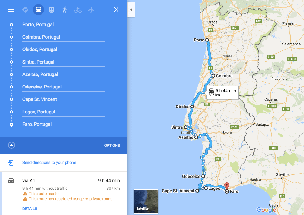 Portugal Road Trip Route
