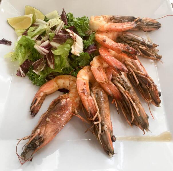 shrimp lunch at Afrodisiako in Playa del Carmen
