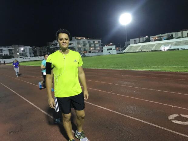running at the Deportivo Mario Villanueva Madrid track in Playa del Carmen