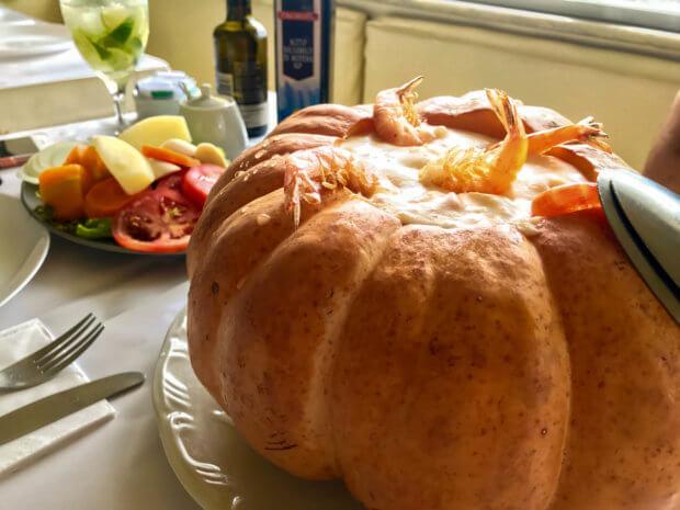 the popular pumpkin shrimp dish at Bar e Restaurante Urca, Rio