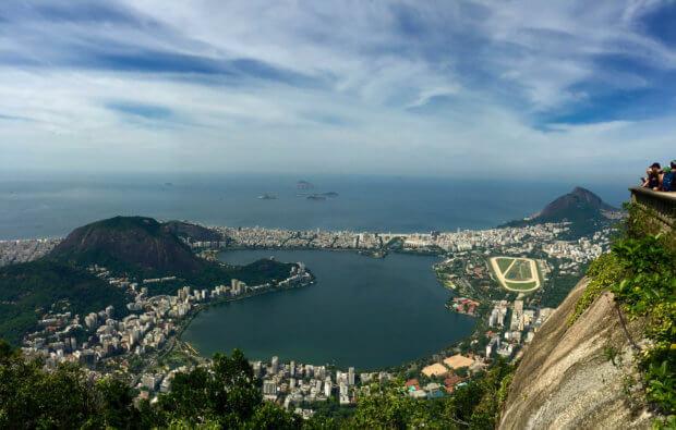 view of the Lagoa from atop Corcovado Mountain