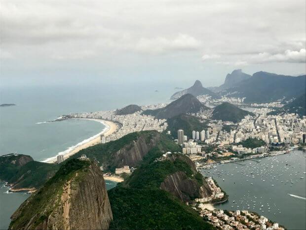 view from the air of Pão De Açúcar and Copacabana beach in Rio de Janeiro