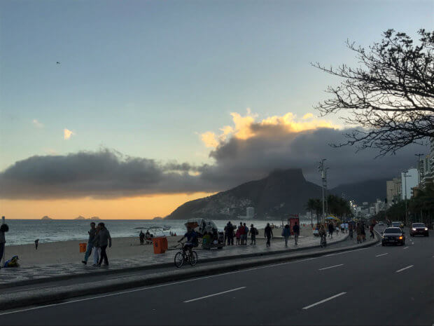sunset and clouds over Dois Irmãos in Ipanema beach