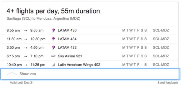 flight options SCL to MDZ