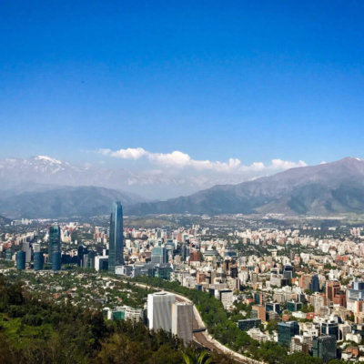 view of Santiago Chile from Cerro San Cristobal