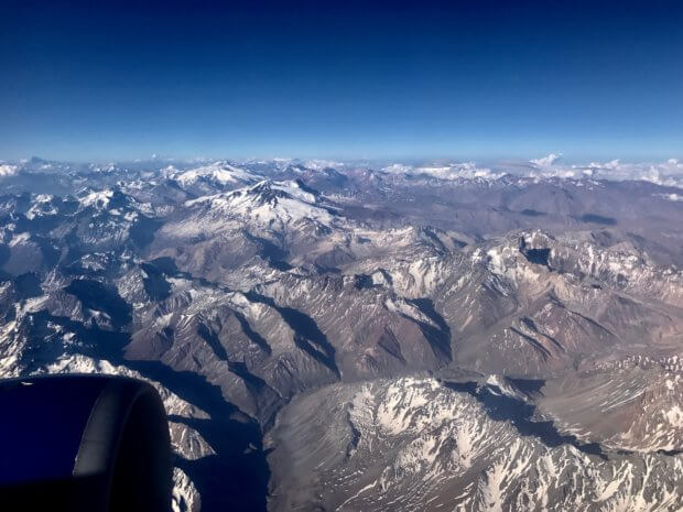 Andes mountains from overhead