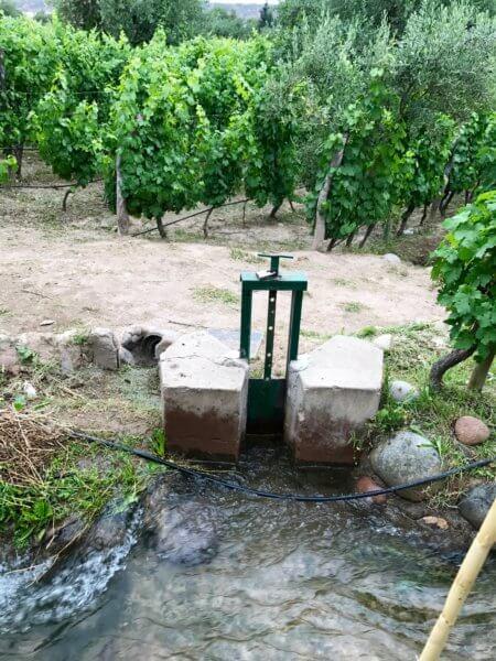 irrigation canal gate in Mendoza, Argentina